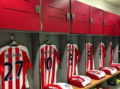 Stoke City shirts ready in the dressing room for the season-opener against Aston Villa. Stoke City Fc, Aston Villa, Dressing Room, Football, Wall, Shirts, Soccer, Walk In Closet, Futbol