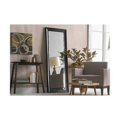 Wall Mirrors: Threshold Peyton Leaner Floor Mirror - Black ($70) ❤ liked on Polyvore featuring home, home decor, mirrors, black cheval mirror, black floor mirrors, beveled mirror, leaner floor mirror and black beveled mirror