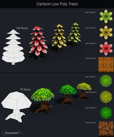 Low Poly trees  #gameassets #lowpoly #trees