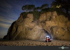 I like the sky in this image as well as how the light behind the couple was captured. Pose is endearing. Engagement Images, Beach Engagement, Engagement Session, Engagements, Beach Photography, Wedding Photography, Laguna Beach, Night Skies, Sky