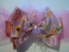 Feather Tinker Bell And Friends Satin Hair Bow | Jenstardesigns - Accessories on ArtFire