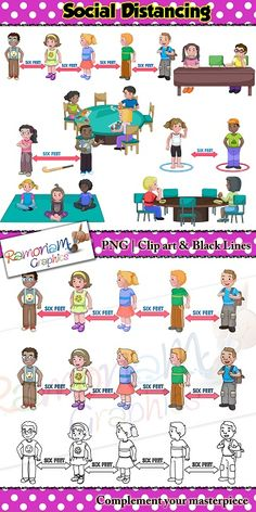 This Social Distancing Clip art set is a fantastic tool to use as visuals for children who are required to attend school.  Each images depicts the current social distancing standards in a variety of scenarios.   #ramonaM #ramonamgraphics #kidsapproved #socialdistancing