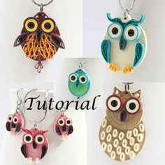 Tutorial for Paper Quilled Owl Jewelry PDF Earrings and Pendant Patterns Paper