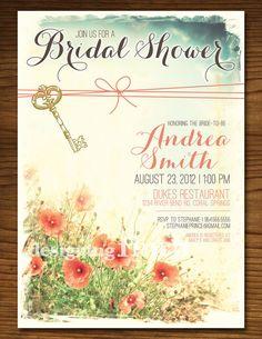 feminine flowers and key vintage bridal shower invitation customizable printable on etsy 1500 - Vintage Wedding Shower Invitations