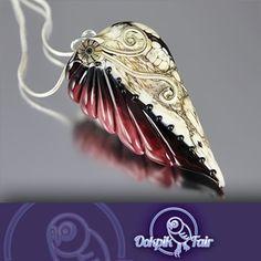 New: Fallen Leaf Burgandy Handmade Lampwork Glass by OokpikArt