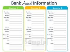 Bank Account Information Printable - EDITABLE - Personal Finance Organizing pdf Finance Tracker, Finance Bank, Personal Finance, Printable Budget Worksheet, Budgeting Worksheets, Free Printables, Math Worksheets, Printable Planner, Financial Binder