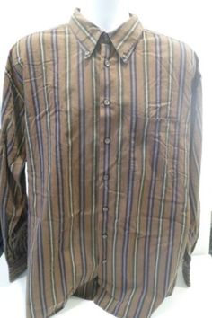 BURBERRY-of-London-Large-XL-Brown-Striped-Button-Up-Casual-Dress-Shirt