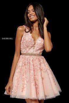 265bb10f112 2018 Sherri Hill Floral Appliques 52157 A-Line Short Tulle Prom Dresses  Blush