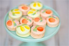 Rifle Paper Co citrus themed painted macarons by Ruze Cake House; photos by Amy and Jordan Photography; El Chorro Weddings