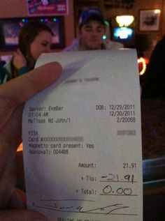 It's funny, but I bet the waiter isn't amused.