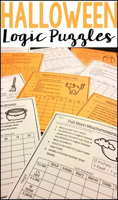 Ten Halloween Themed Logic Puzzles for students to practice critical thinking and basic math skills during the month of October! Use as a Halloween-themed activity for early finishers, a cooperative learning activity, or a math center.