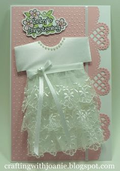 Crafting with Joanie: Baby *can use onesie die as base Baby Girl Cards, New Baby Cards, Baptism Cards, Karten Diy, Dress Card, Baby Christening, Baby Shower Cards, Kids Cards, Handmade Baby