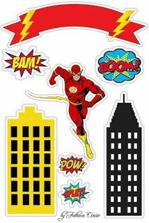 for Geeks Flash Party: Free Printable Cake Toppers. for Geeks Bolo Flash, Flash Cake, Spider Man Party, Free Printable Invitations, Party Printables, Free Printables, Flash Birthday Cake, Superhero Birthday Party, The Flash