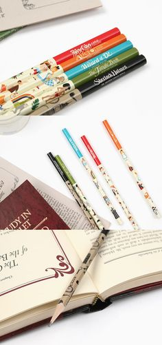 The Literature Pencil Set has the most gorgeous pencil design I've ever seen! This set includes pencils with artwork inspired by famous works of literature. The colors and design really make these pencils stand out among other!