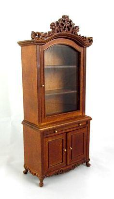 Dolls House Fine Miniature Study Furniture Walnut Pomeroy Bookcase Cabinet