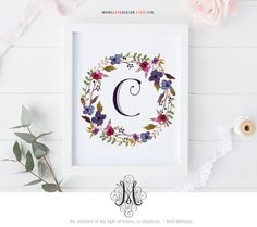 Instant Download Floral Wreath Wall Art Printable Decor