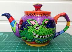 Handpainted Dragon Teapot. One off design. £22.00