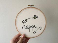 Handmade Bee Happy Embroidery Hoop  by UnordinaryEmbroidery