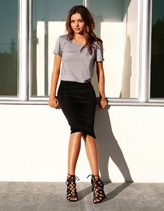 Miranda Kerr's H&M campaign // Love the simple grey t-shirt with the black pencil skirt + strappy lace-up sandals...
