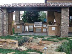 Outdoor Kitchens/BBQ's - mediterranean - patio - orange county - Mclaughlin Landscape Construction Bbq Island, Orange County, Pergola, Outdoor Structures, Construction, Patio, Outdoor Kitchens, Landscape, Building