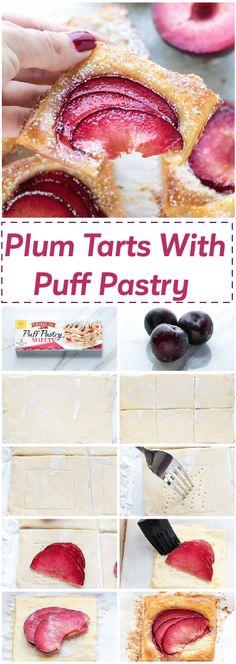 easy mini plum tarts recipe with puff pastry