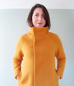 """I finally put the finishing touches on my I love it so! I used to see projects like this and think, """"wow, I couldn't make something THAT nice"""". Coat Pattern Sewing, Sewing Patterns, Pattern Making, Winter Coat, Coats, Wool, Hoodies, My Love, Nice"""