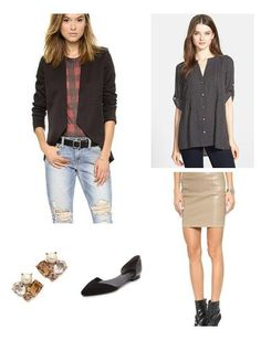 Pair a neutral leather skirt with a polka dot top. Add a little bit of bling with a pair of cool studs.