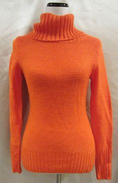 Banana Republic size Extra Small Sweater Wool Orange Turtleneck Woven Misses #BananaRepublic #TurtleneckMock