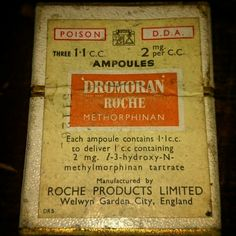 A vintage set of 3 ampules /vials of methorphinan an artificial morphine, still sealed in original box War On Drugs, Vintage Advertisements, Vintage Ads, Legal Highs, Funny Products, Pick Your Poison, Blue Pill, Emergency Medicine, History
