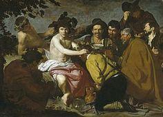 Diego Velázquez  El triunfo de Baco, (1628-29), conocida como Los borrachos y considerada la obra maestra de este periodo. Los adoradores de la derecha están modelados con un empaste denso y en unos colores que corresponden a su etapa juvenil. Sin embargo, la luminosidad del cuerpo desnudo y la presencia del paisaje de fondo muestran una evolución en su técnica.