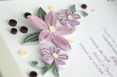 Fioletowe kwiaty w ramce ręcznie robione podziękowanie dla lekarza - quilling florals flowers framed gift Paper Quilling Cards, Bows, Brooch, Flowers, Handmade, Patterns, Jewelry, Arches, Block Prints