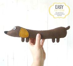 50% Off! Weiner Dog Pattern, Stuffed Dachshund Felt Soft Toy, Instant Download PDF, Sausage Dog Sewing Pattern