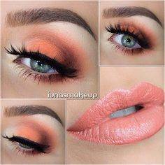 Perfect look for the fall, or spring, but too much for school..... Orange smokey eye with light pink nude lips.