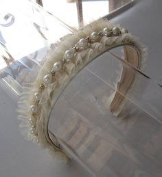 Ivory Pearl Crystal Beaded Tulle Headband for by HettieSilovitz, $45.00
