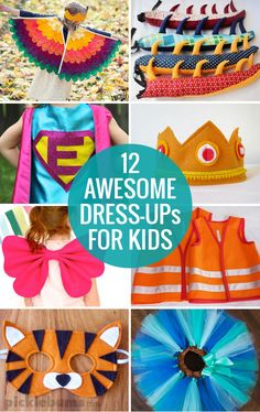 Sewing Projects For Kids 12 Awesome Dress-ups for kids and tips for making dress up play easy and fun! - Awesome dress-up ideas for kids and tips for making dress up play easy and fun! Sewing Projects For Kids, Sewing For Kids, Baby Sewing, Diy For Kids, Gifts For Kids, Sewing Ideas, Dress Up Outfits, Diy Dress, Kids Outfits
