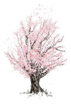 tree, flowers , soft , pastel , bright , illustration drawn drawing