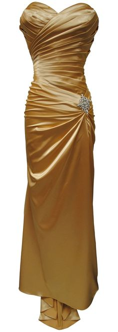 6c375ff1eb CLEARANCE - Plus Size Gold Satin Dress Pleated Bodice Strapless (Size XS