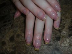 Pink and yellow glitter fade acrylic nail tips