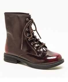 Love this Burgundy Seattle Boots by Qupid \\ Rugged construction laces and a tall, smooth silhouette offer street-ready style. The low heel and sturdy build lend support, while a zipper on the inside makes donning this pair a simple affair.   1'' heel 6'' shaft 10'' circumference Lace up / inside zipper closure Man-made Imported  This would make a great barn boot or riding jodpur. Very nice.