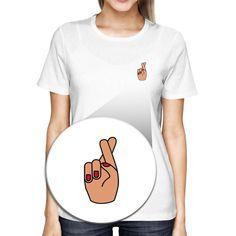 Cross Finger Pocket T-shirt Back To School Tee Ladies Cute Shirt