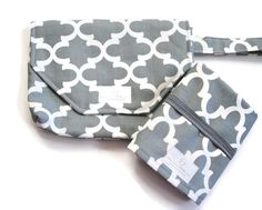 Gray Fynn Diaper Clutch with Travel Changing Pad - New Mom Gift - Baby Accessories
