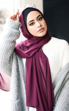 Our Solid Chiffon scarves feature a smooth, light weight polyester chiffon fabric, providing a sophisticated and classic finish to any hijab style. Textile: Polyester Chiffon Dimension: x Contour: Long Rectangle Thickness: Light Texture: Smooth Hijab Outfit, Hijab Turban Style, Mode Turban, Hijab Chic, Beautiful Muslim Women, Beautiful Hijab, Beautiful Eyes, Hijabi Girl, Girl Hijab