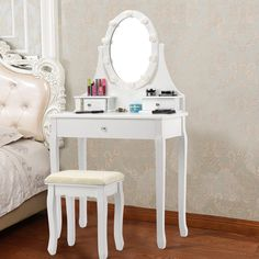 Shop for Vanity Makeup Dressing Table Set Lighted Mirror w/ Drawers & LED Bulbs. Get free delivery On EVERYTHING* Overstock - Your Online Furniture Store! Makeup Vanity Set, Vanity Set With Mirror, Oval Mirror, Vanity Ideas, Makeup Dressing Table, Dressing Table With Stool, Home Design, Drawer Lights, Mirror With Lights