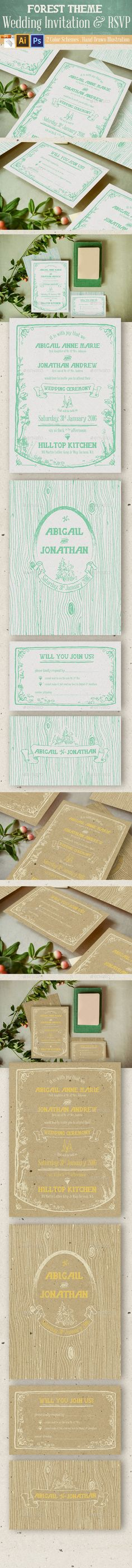 Wedding and Engagement Invitation Kit Template design