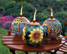 Talavera Style Torch Pots  I LOVE the fiesta one on the right!