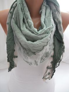 Women  Green Cotton Scarf  Headband  Cowl with Lace Edge by DIDUCI, $22.00