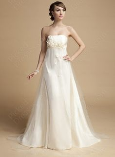 A-line Strapless Tulle Satin Floor-length Ivory Flowers Wedding Dress at Pickeddresses.com