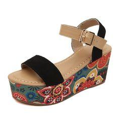 mode floral cales plateforme sandales pour femmes en cuir véritable cheville sangle spartiates pour les femmes sandales de plage dames dans Sandales de Chaussures sur AliExpress.com | Alibaba Group