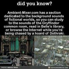 I can't say I'd want to be chased by a horde of Dothraki, but studying in the Gryffindor common room and reading in Belle's library sounds awesome The More You Know, Good To Know, Did You Know, Writing Tips, Writing Prompts, Writing Help, Belle Library, 1000 Lifehacks, Def Not