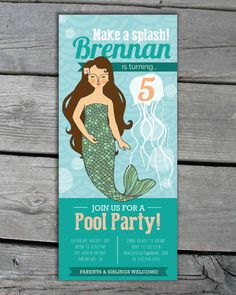 4 x 9 Tea Length Mermaid Invitation by AnchorsEndDesigns on Etsy, $20.00